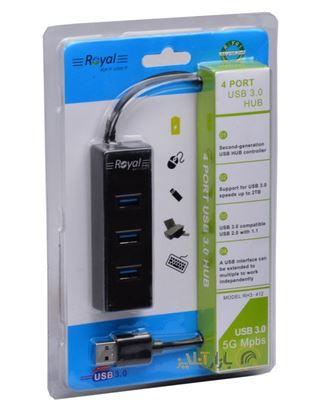 تصویر هاب  4 پورت Royal  R3-412  USB3.0