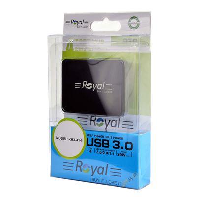 تصویر هاب 4 پورت  Royal  RH3-414 USB3.0